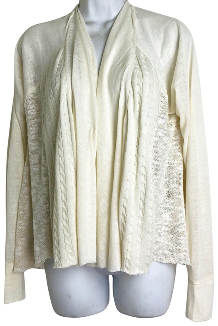 Item - Anthropologie Brand Womens Lace Cardigan Ivory Draped Open Front Size M Beige Sweater