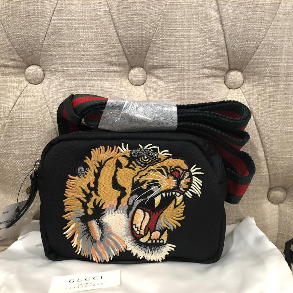 a4351206adab Gucci Dionysus New Tiger Embroidered Black Canvas Cross Body Bag ...