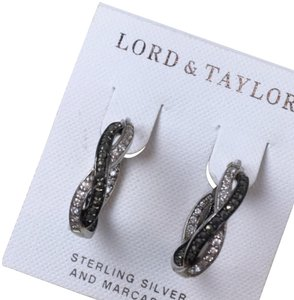Lord & Taylor Lord & Taylor sterling and marcasite hoop earrings