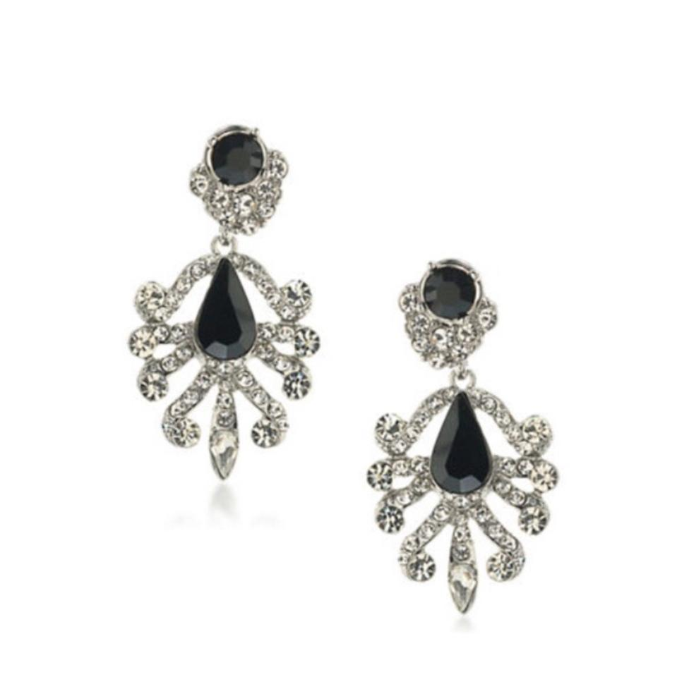 A B S By Allen Schwartz Abs Interchangeable Chandelier Crystal And Black Stud Earrings