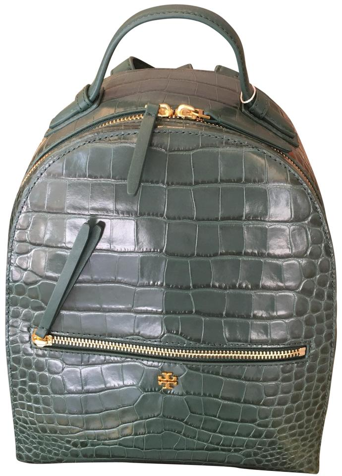 932d70817f2c Tory Burch Croc-embossed Mini Black Leather Backpack - Tradesy