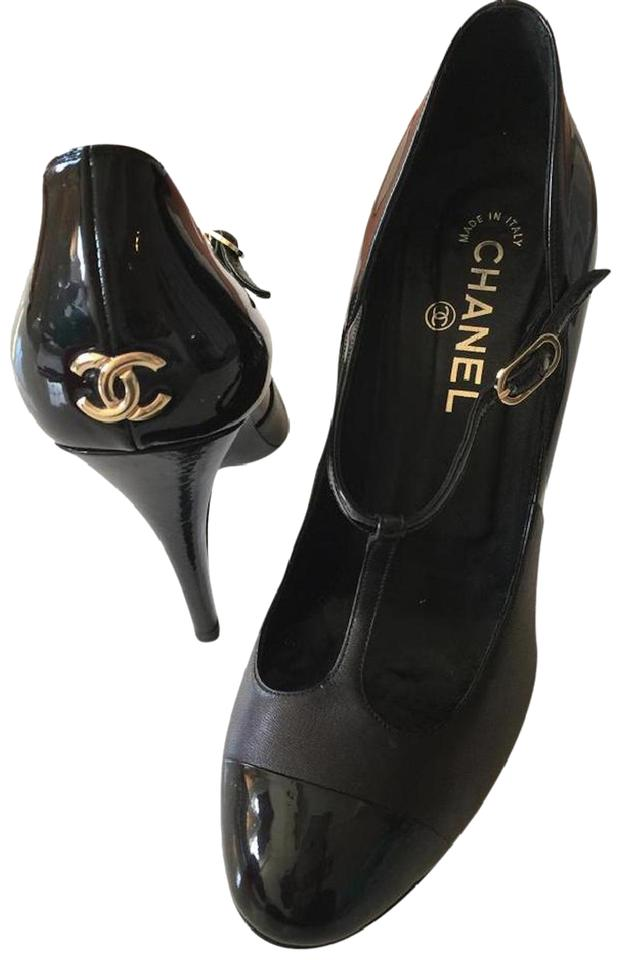 7fe63f97cb991 Chanel Interlocking Cc Mary Jane T-strap Hardware Ankle Strap Black, Gold  Pumps Image ...