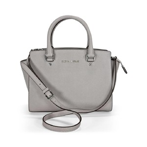 Michael Kors Saffiano Leather Selma Crossbody Satchel in DOVE GRAY/SILVER hardware