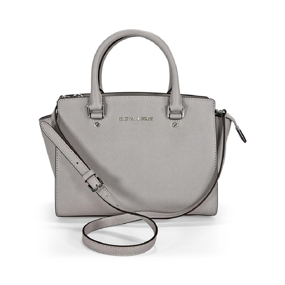 bdbcc5103e3c Michael Kors Selma Medium Top Zip Crossbody (New with Tags) Dove Gray Silver  Hardware Saffiano Leather Satchel