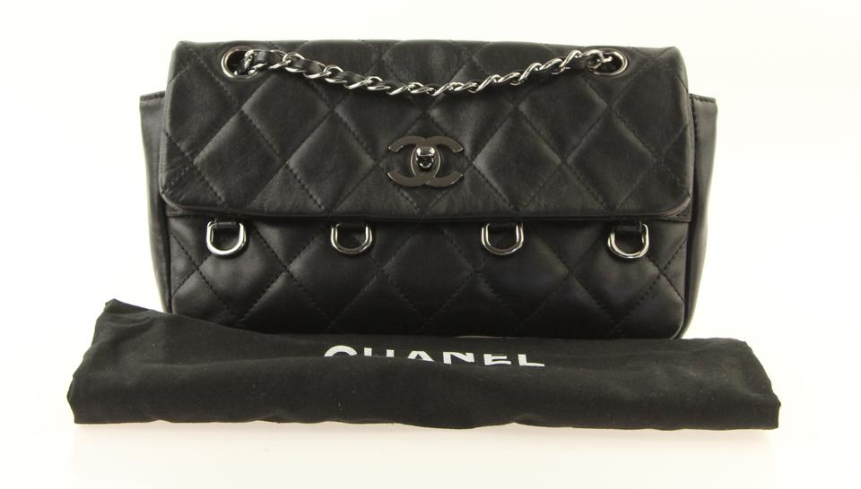 74e5ee1b62c7 Chanel Classic Flap Clutch With Chain Black Lambskin Leather Shoulder Bag