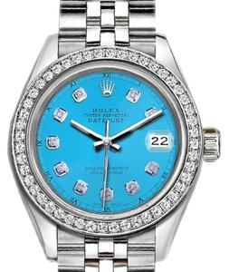 Rolex Ladies 26mm Rolex Datejust with Custom Bezel and Diamond Blue Dial