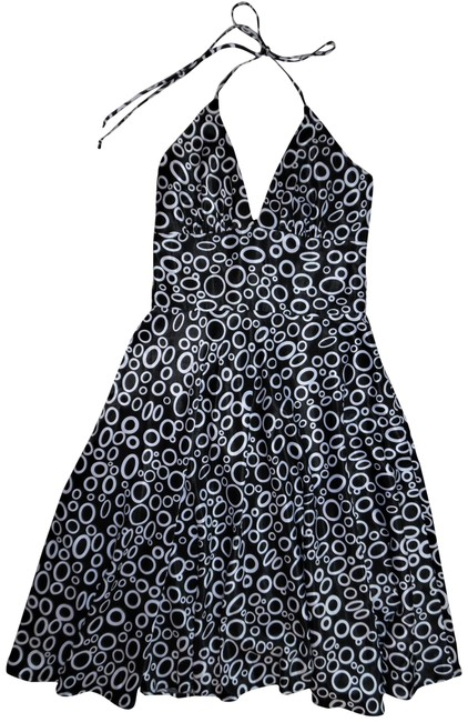 Item - Black White Circles Geometric Print Satin Halter-tied Swing Mid-length Cocktail Dress Size 6 (S)