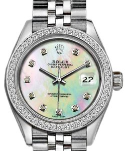 Rolex Ladies 26mm Rolex Datejust with Custom Bezel and Rainbow MOP Dial
