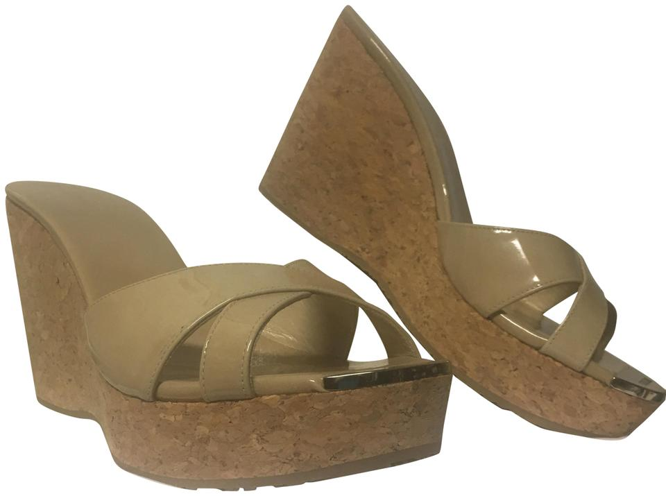 e296e60a5b5 Jimmy Choo Patent Leather Crisscross Strap Rubber Nude Wedges ...