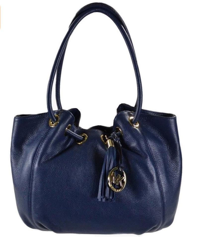 54a79a56ce Michael Kors East West Leather Handbag Tote in Navy Image 0 ...