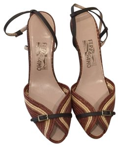 Salvatore Ferragamo Brown With Cream Wedges
