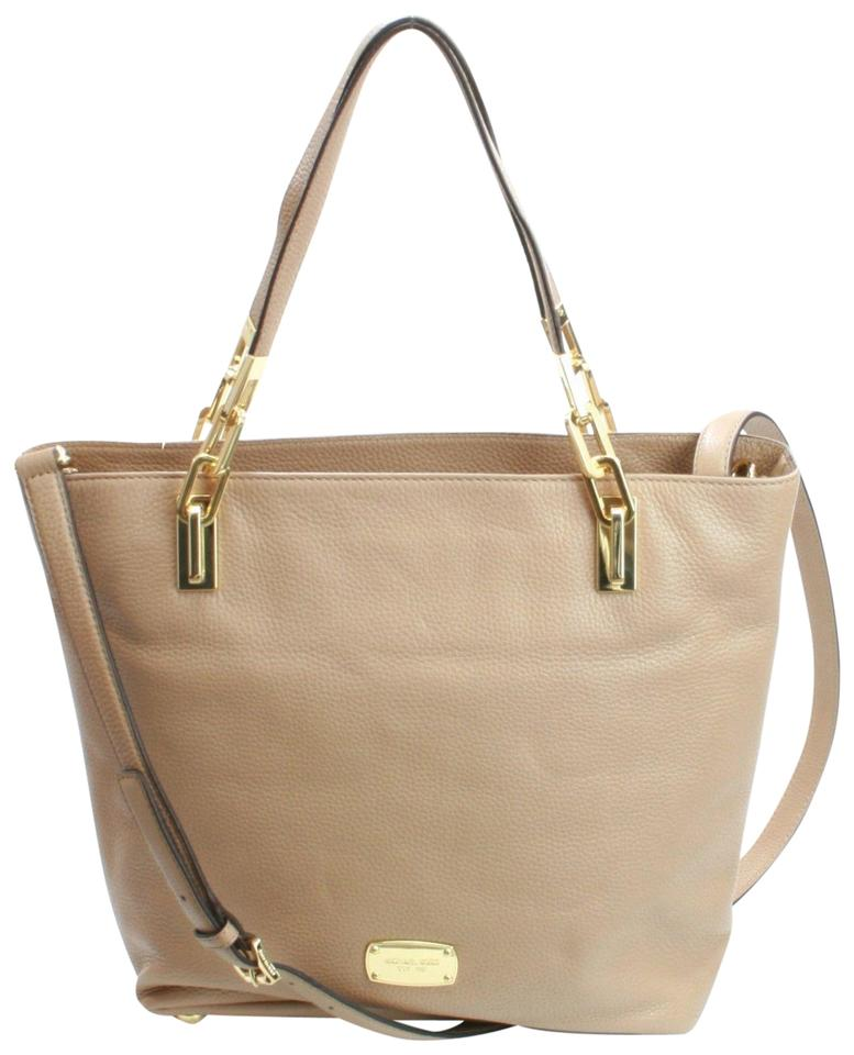 a1d09ad30595 Michael Kors Brooke Chain Dark Khaki Leather Tote - Tradesy