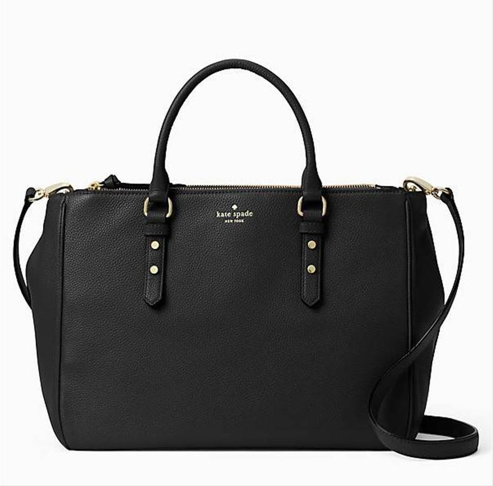 Kate Spade Leighann Mulberry Street Tote Satchel Travel Black Pebble ... d80fd0a31cf98