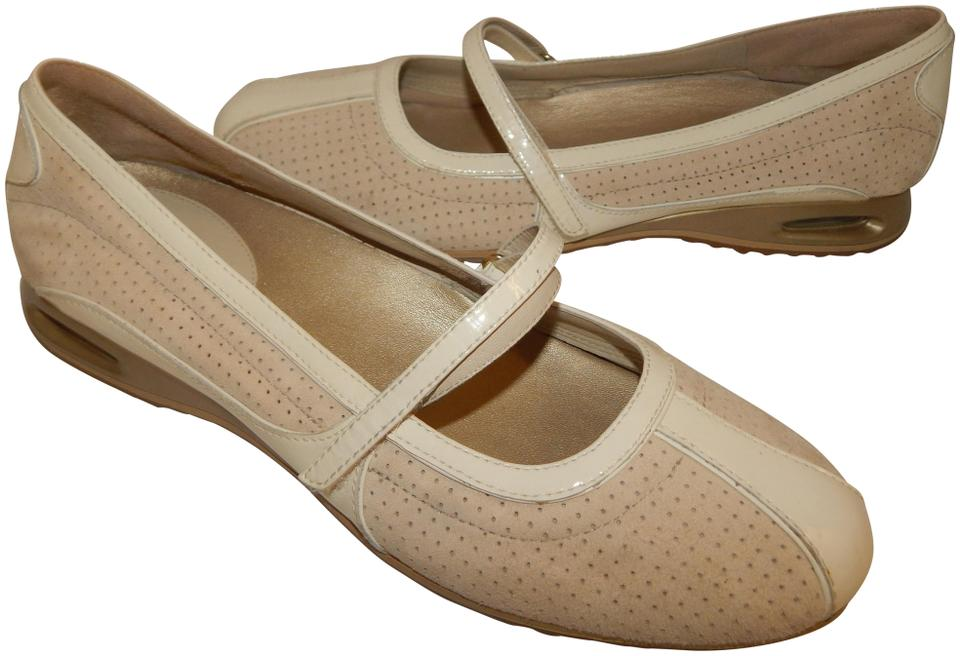 Cole Haan Beige Bria Suede Leather Cream Patent Mary Jane Flats Size ...