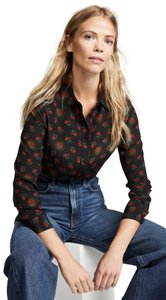 Baldwin Denim Floral Silk Blouse Button Down Shirt black