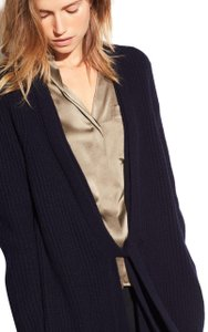 Vince Wool Cashmere Ribbed Knit Longsleeve Cardigan