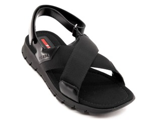 51b06dedb Prada Men Cross Strap Black Sandals. Prada Black Men's Sandals Size US 8  Regular (M ...