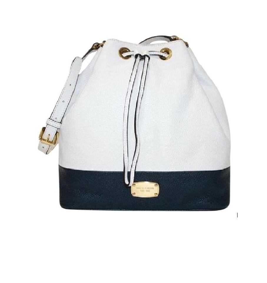 83874694c615 Michael Kors Large Jules Convertible Drawstring White   Navy Leather  Shoulder Bag