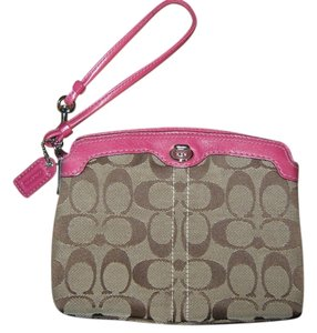 Coach Clutch Wristlet in Pink and brown