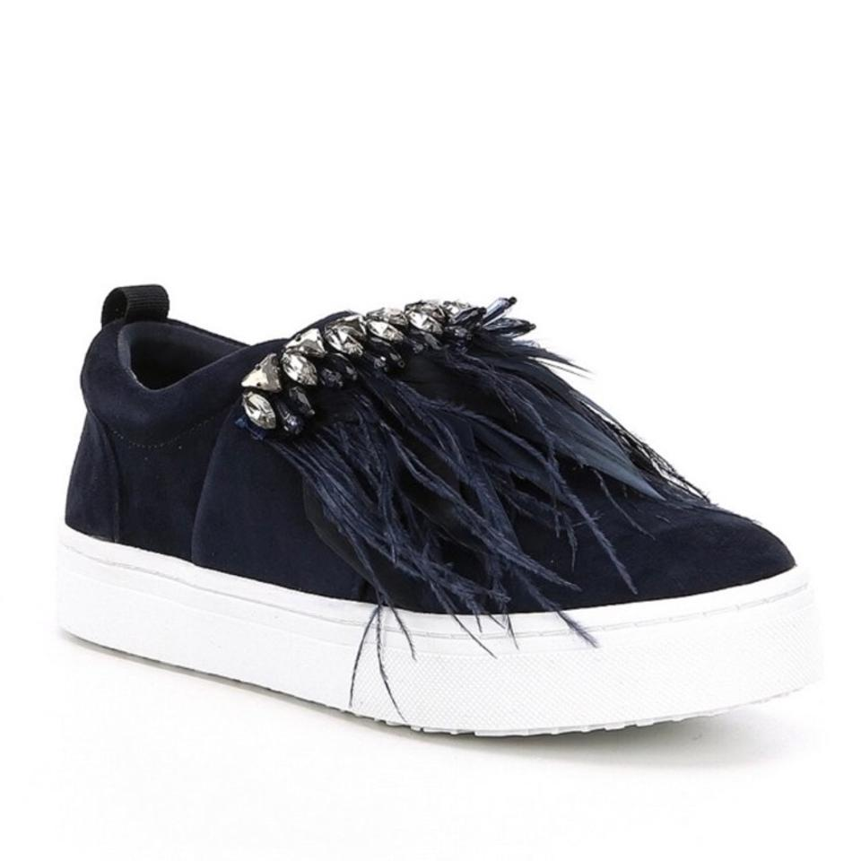 ed9850db63f8c Sam Edelman Blue Lelani Faux Feather Leather Jeweled Sneakers Sneakers