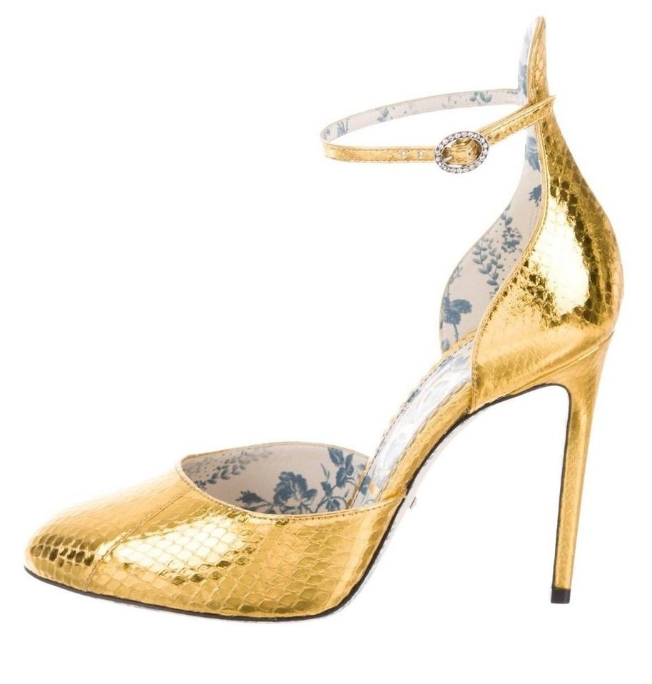 45e90c1fc75d Gucci Metallic Gold Snakeskin New Ankle Strap Crystal Heels New Pumps