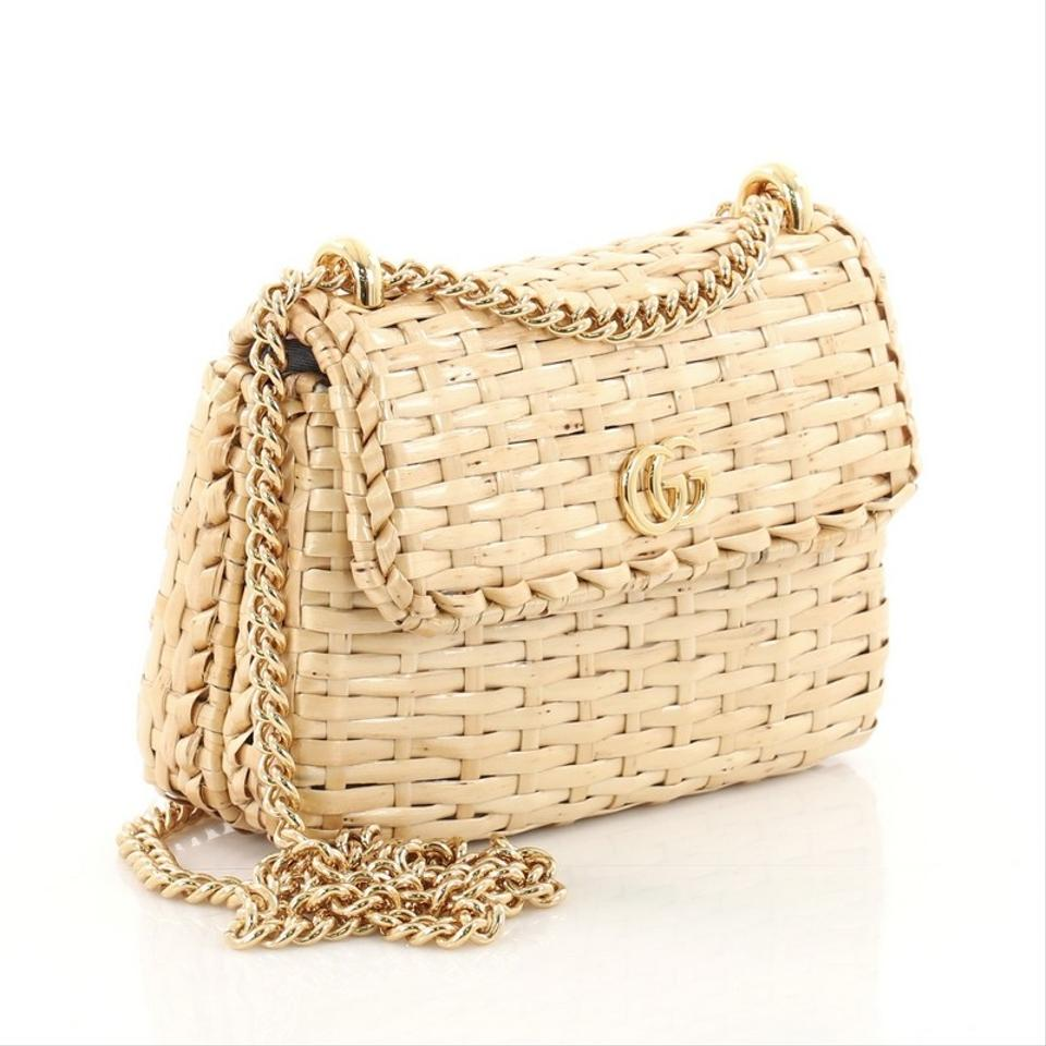 23c5186b9f9 Gucci Cestino Mini Brown Woven Wicker Shoulder Bag - Tradesy