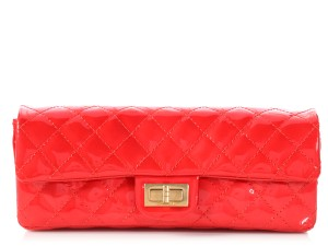 Chanel East/West Quilted Ch.p0803.15 Gold Hardware Red Clutch