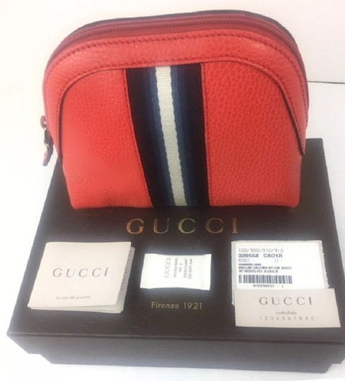 Gucci Gucci Leather Web Zip Top Cosmetic Case/ Clutch #339558 Image 6