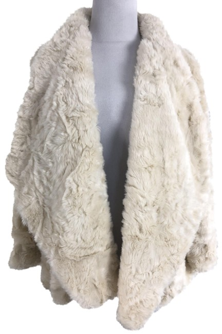 Item - White Ivory Draped Faux Coat Size 4 (S)