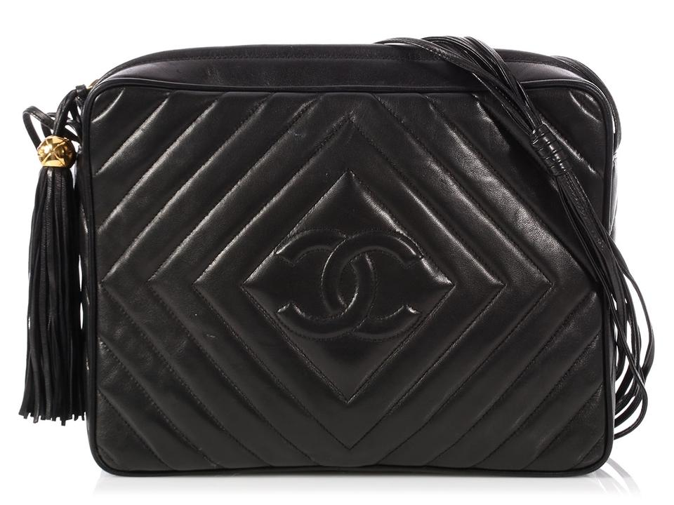 a4942c48dc87a9 Chanel Camera Large Chevron Quilted Black Lambskin Leather Cross Body Bag