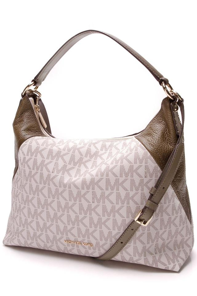 1d2e92491ffa75 Michael Kors Aria - Vanilla Logo Multicolor Leather Shoulder Bag ...