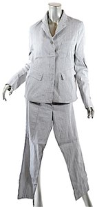 Annette Görtz ANNETTE GORTZ Gray Linen Blend Hidden Placket Narrow Leg Pantsuit