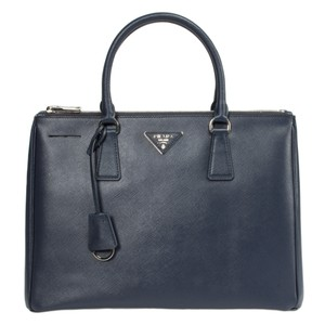 Prada Galleria Saffiano Black Tote in Blue