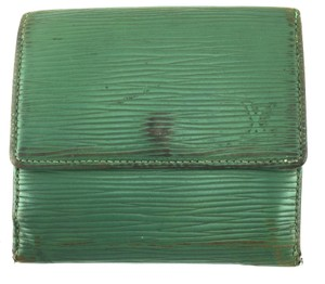 Louis Vuitton Epi Double sided Flap Wallet coin card bill holder LV monogram logo