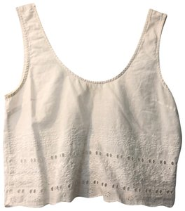 LA Hearts Embroidered Sleeveless Crop Summer Spring Top White