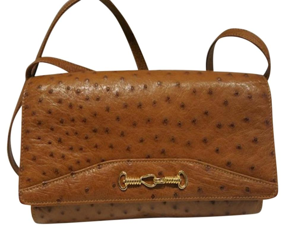 6539e6045b Céline 2 Way Vintage Cognac Brown Genuine Exotic Ostrich Leather ...