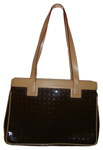 Arcadia Leather Tote in brown & tan