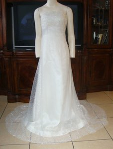 Vera Wang Ivory and White Satin Silk Strapless Sequin Tulle Overlay Formal Wedding Dress Size 4 (S)