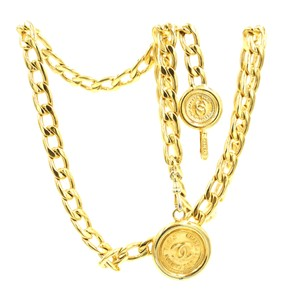 Chanel CC double charm medallion chain long gold necklace belt two way