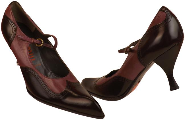 Item - Brown Two Tone Perforated Leather Mary Jane Classic Italy Pumps Size EU 36.5 (Approx. US 6.5) Regular (M, B)