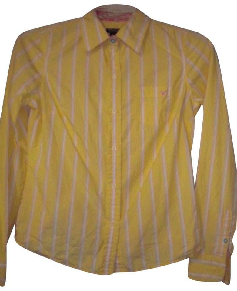 31b870846e American Eagle Outfitters Longsleeve Favorite Fit Button Front Button Down  Shirt Yellow/white Image 0 ...