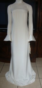 Vera Wang Ivory Silk Low Back Long Sleeve Gown Formal Wedding Dress Size 14 (L)