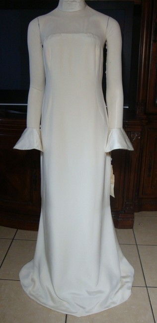 Item - Ivory Silk Illusion Strapless Low Back Gown Formal Wedding Dress Size 14 (L)