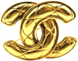 Chanel RARE CC quilted gold hardware brooch pin charm