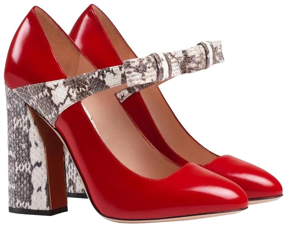453f858e2e4 Gucci Red New Patent Snakeskin Bow Leather Mary Jane Pumps Size EU ...