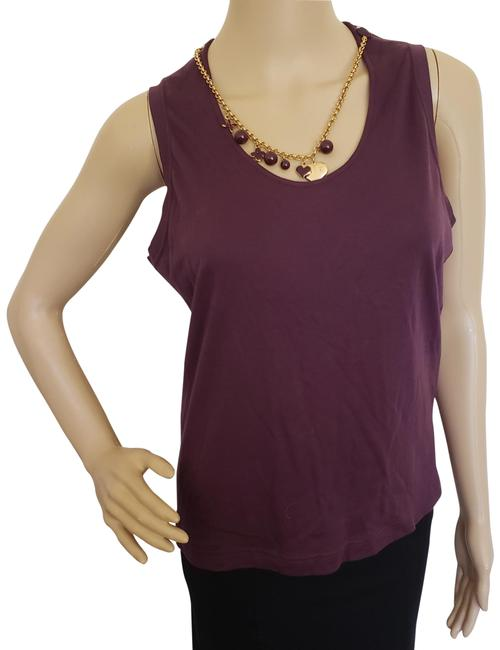 Item - Purple Gold Brown Jersey Eggplant Lv Charm Necklace Sleeveless Knit Blouse Size 12 (L)