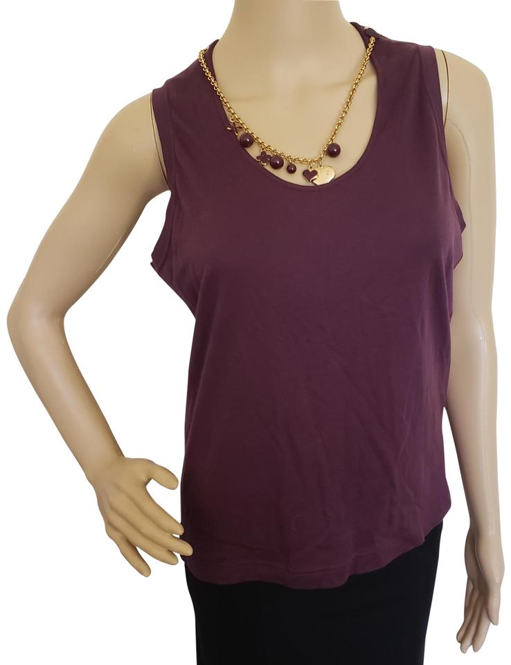 045ad9dbac311f Louis Vuitton Purple Gold Brown Jersey Eggplant Lv Charm Necklace Sleeveless  Knit Blouse