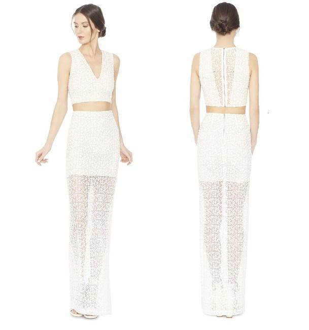 Item - Nature White Misha Embroidered Lace Fitted Long New Skirt Size 4 (S, 27)