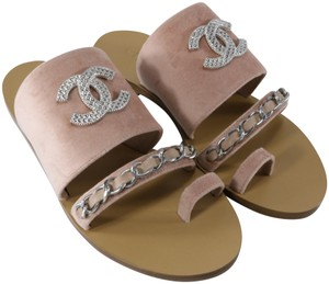Chanel Mules Rare Runway Logo light pink, pink, dusty pink, silver, Sandals