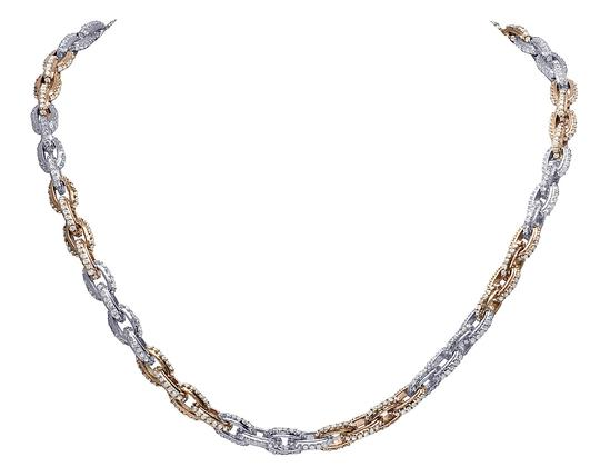 Jewelry Unlimited Mens 10K Gold Two Tone Hermes Rolo Link Diamond Chain Necklace 20